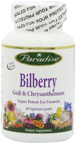 Paradise Herbs Bilberry Goji and Chyrsanthemum Vegetarian Capsules, 60 Count by Paradise Herbs