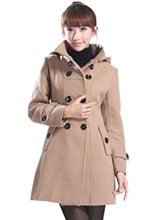 Amazon.com: Cottory Women Wool Blends Coat Trench Hooded