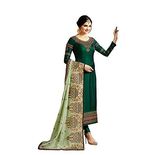 - Laxminarayan Green Georgette Embroidered Churidar Straight Salwar Suit with Pure Banarasi Silk Dupatta (Medium)