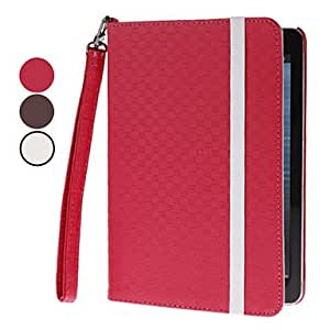 360 Degree Rotatable Mat Lines PU leather Full Body Case with Card Slot, Stand and Strap for iPad mini (Assorted Colors) , Brown