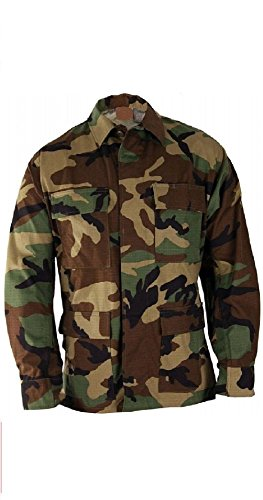 Military Style Woodland Camouflage 100% Cot Rip-Stop Bdu Shirt