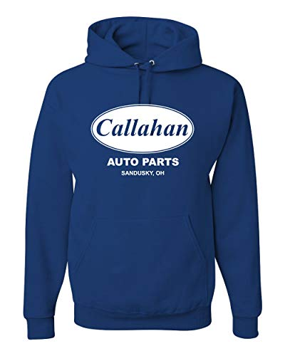 Callahan Auto Parts Sandusky Ohio Retro 90s Funny Tommy Boy | Mens Pop Culture Hooded Sweatshirt Graphic Hoodie, Royal, Large