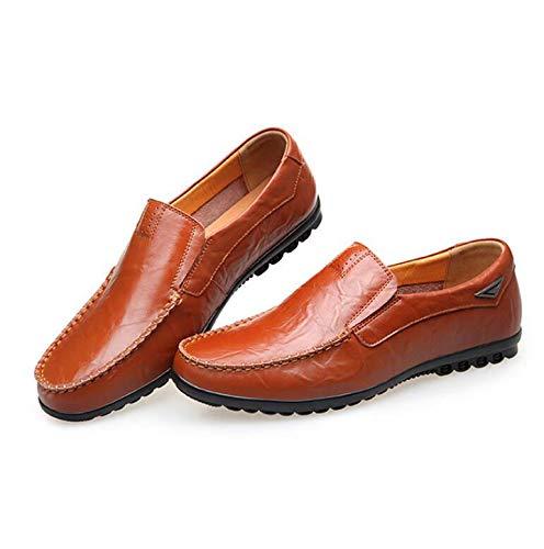 Verano De Nuevos Baja Redonda Para Cabeza Primavera Suela Respirable Casuales Zapatos Y Goma Brown Boca Hombres Koyi Cuero 850Aqwf