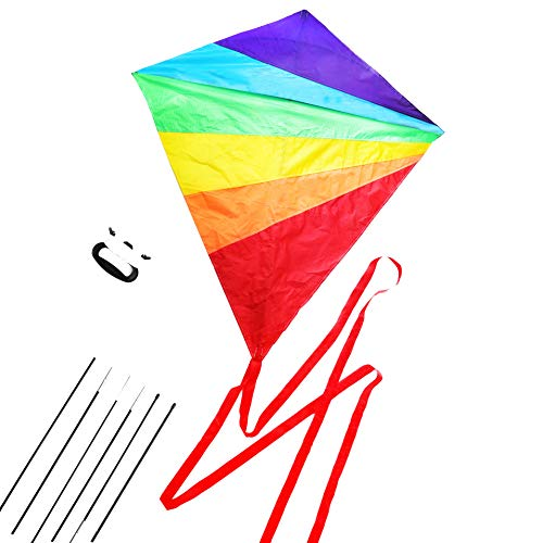 Diamond Kite Large Easy Flyer Rainbow Kites for Kids and Adults for Beach Park Garden Playground with Kite Handle Perfect Outdoor Fun ()