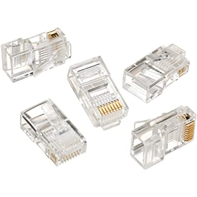 IDEAL RJ45 8P8C Mod Plug (Card of 50) Home Audio Crossover, Clear (85-396)