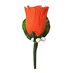 Angel Isabella Classic Rose Boutonniere with Very Nice Vein Pattern Printed Leaf. Pin Included (Burnt Orange) 107