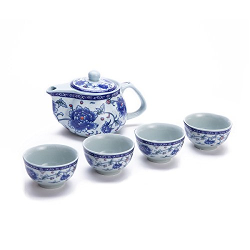 Exquisite 5 PCS Blue-And-White Peony Design Ceramic Tea Pot Tea Cups Set In Beautiful Color Gift Box by THY COLLECTIBLES