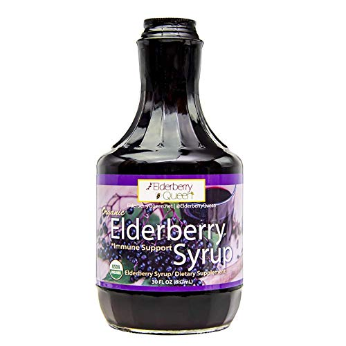 Organic Elderberry Liquid by Elderberry Queen- Sambucus, Aronia Berry, Pure Natural Certified Organic Immune Support Herbal Syrup Supplement (30oz)