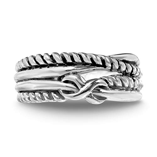 (WILLOWBIRD Rope Bypass Love Knot Ring for Women in Oxidized 925 Sterling Silver (Size 7))