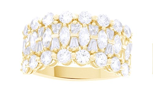 Jewel Zone US White Cubic Zirconia Epiphany Clad Diamonique Multi-Stone Ring in 14k Yellow Gold Over Sterling Silver ()