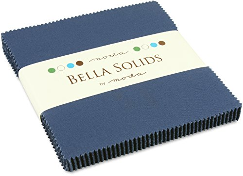Moda Bella Solids Blue 9900-48 Charm Pack, 42 5-inch Cotton Fabric Squares