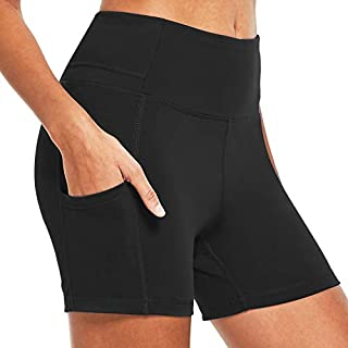 BALEAF Women's 4 Inches Compression Yoga Volleyball Shorts Squate Proof Athletic Workout Shorts Side Pockets Black Size XL
