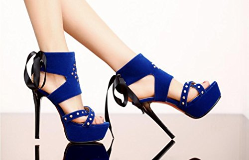 Talón del de Sandalias de la Sandalias del la Colores de Altos de la blue Tabla Terciopelo los del Terciopelo los Verano Las Tabla 13cm Tabla estupendo NVLXIE Tres del de Remache 5Pxgw65q