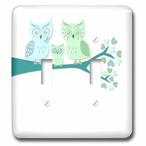 3dRose LLC lsp_128533_2 Cute Owl Family with Baby Boy Blue And Green Double Toggle Switch Blue Double Light Switchplate