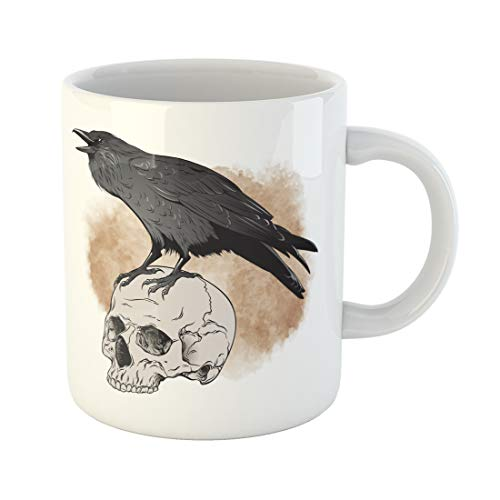 Emvency Funny Coffee Mug Brown Poe Raven and Skull on Sepia Watercolor Scary Tattoo Bird Black Blot Crow Dark 11 Oz Ceramic Coffee Mug Tea Cup Best Gift Or Souvenir ()