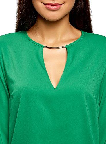 oodji Collection Verde in Camicetta con e 6d00n Taglio Goccia Decorazione a Metallo Donna RggqxrwZ