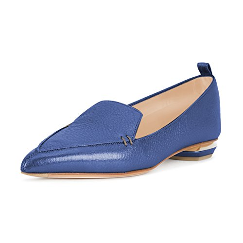 Fashion Loafers Shoes Blue Women Casual Heels Pumps Size matte Summer Slip Fsj Pointed Low 15 Toe 4 On Us C5xT787wq