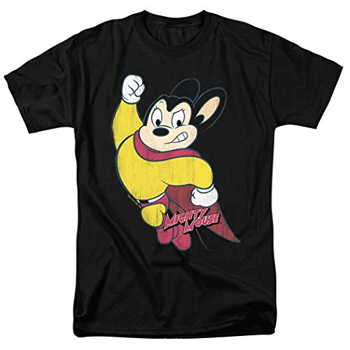 (Mighty Mouse Character T Shirt & Exclusive Stickers (Large) Black)