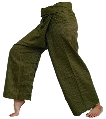 Original Thai Fisherman Fisher Yoga Pants Trouser stripe-Dark Olive Green