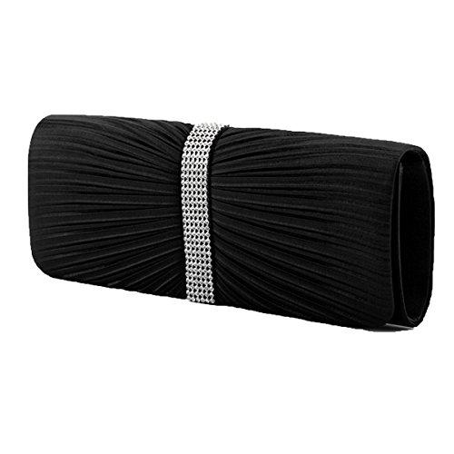 Moda Plisados Bolsos De Tarde Cristales Rhinestone Monedero Cartera Multicolor Black