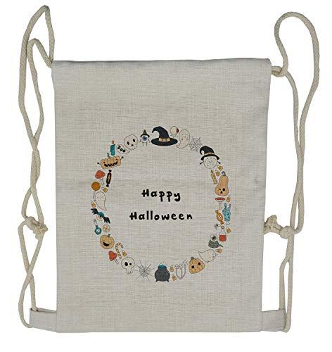 Ambesonne Halloween Drawstring Backpack, Happy Halloween Sketch, Sackpack Bag ()