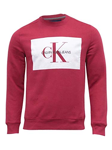 (Calvin Klein Jeans Men's Monogram Logo Block Crewneck Sweatshirt (Red, XX-Large) )