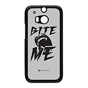 Sassy - Bite Me 10452 Black Hard Plastic Case Snap-On Protective Back Cover for HTC? One M8 by Sassy Slang + FREE Crystal Clear Screen Protector