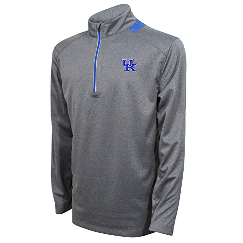 Ncaa Kentucky Wildcats Wildcat - Crable NCAA Men's Quarter Zip with Team Neck Panel,Kentucky Wildcats,Heather Gray/Royal,X-Large