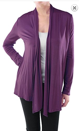 Blue-city Women's Super-soft Open Front Drape Cardigan Solid - Made in USA (S, Violet)