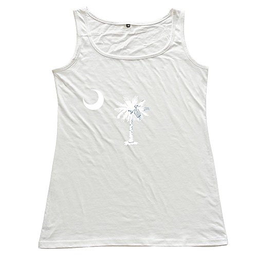 Flag Of South Carolina Woman 100% Cotton Vest White (Blue And White Canton)