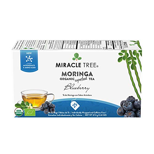 Miracle Tree - Organic Moringa Superfood Tea, 25 Individually Sealed Tea Bags, - Bags Blueberry Leaf Tea