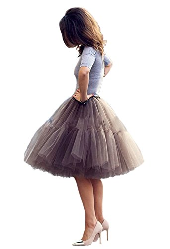 FOLOBE Adult Ballet Tutu Layered Organza Lace Mini Skirt Women's Princess Petticoat for Prom Party (S-M/23.6-39.4IN, Brown) ()