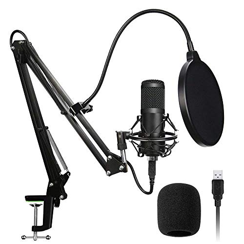 Techtest Condenser Streaming Gaming Mic Microphone Recording for Singing USB Kit Podcast Professional Voice Recorder YouTube Song Studio Set All Inlcuding Bm 800 Stand Pop Filter