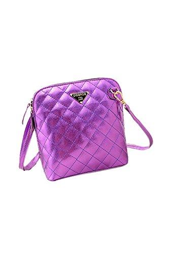 TOOGOO(R) Le donne calde di vendita calde del messaggero delle donne delle coperture del plaid della borsa di cuoio delle donne di modo traspongono il sacchetto-nero Viola