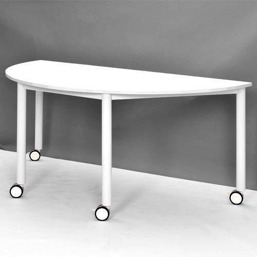 RFCTT-WL1680SMWH キャスターテーブル ホワイト脚 半円 B01MY0SP30