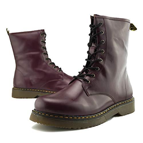 Kick Retro Womens Combat Boot Goth Ankle Lace Burgundy Vintage Funky Ladies Footwear rfqt7r