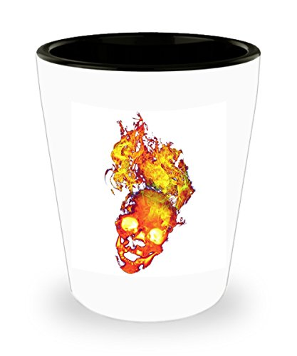 Flaming Skull Shot Glass - halloween -