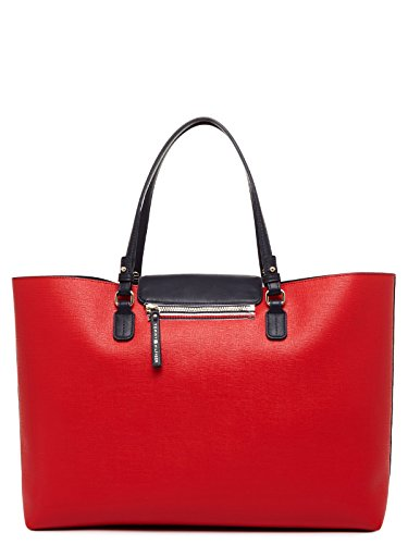 BORSA SHOPPERS DOUBLE' DONNA IN PELLE TOMMY HILFIGER (BLU/ROSSO) 45.5 x 30.5 x 12.5 cm