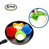 Silicone Egg Poacher Cups – Set of 6 Cooking Perfect Poached Eggs – Microwave or Stovetop Egg Cooker (Random Color)