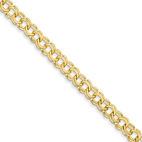 Qg 14k Charm Bracelet (Roy Rose Jewelry 14K Yellow Gold 6.5mm Solid Double Link Charm Bracelet ~ Length 8'' inches)