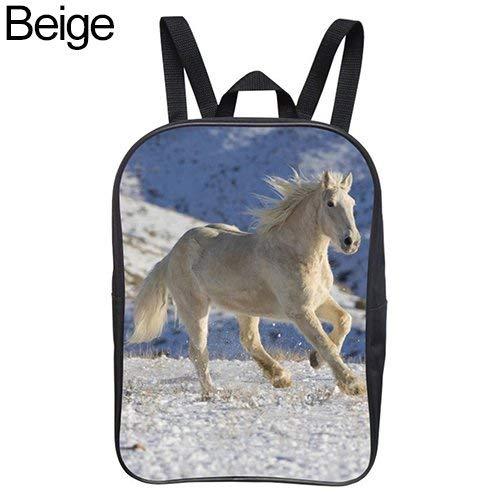 Wintefei Useful Schoolbag Children Kids Horse Printing Book Storage School Bag Travel Rucksack Backpack Beige 22cm by 8cm by 30cm