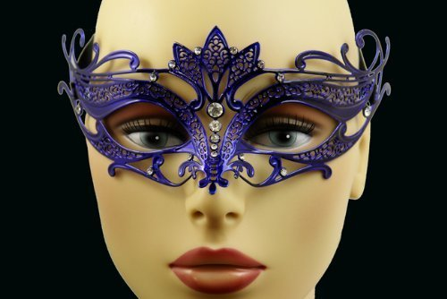 Laser Cut Venetian Halloween Masquerade Mask Costume Extravagantly Simple Inspire Design - Blue w/ Rhinestones by (Simple Venetian Masks)