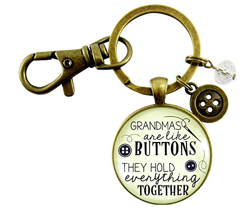Grandmother Keychain Grandmas Are Like Buttons They Hold Everything Together Women's Pendant Seamstress Jewelry Charm Family - Grandmothers Buttons