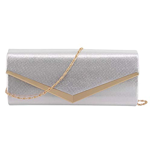 Chain Handbag Wedding Bags Detachable Party Womens Clutch with Silver Purse Naimo Evening 01103 Bridal HnwC4aPqPS