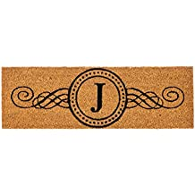 "Evergreen Kensington Monogram Natural Coir Interchangeable Switch Mat, Letter J - 28.25""W x 9.25""H"
