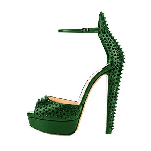 FSJ Heel Toe Pumps 4 Chunky Women Shoes Size US Strap Studded Platform Green Peep Ankle High 15 Fashion Sexy wCgRxqXwPr