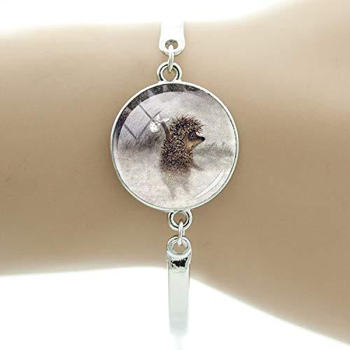 Hedgehog in The Fog Charm Bracelet Animal Style Metal for Handmade Fashion Round Glass Bracelets for Women Jewelry,H231 -