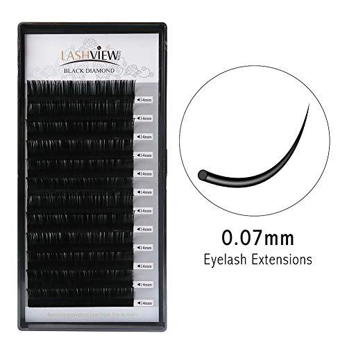 LASHVIEW D curl Handmade Soft False Eyelashes 0.07 Thickness 14 mm Silk Mink Eyelash Extension Premium Volume Lashing Building Individual Lash Extensions Semi-permanent False Eyelashes (Salon Use)