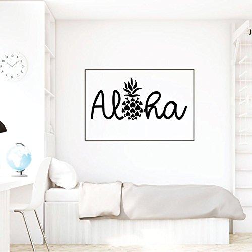 Aloha Wall Decal with Hawaiian Pineapple Design - Polynesian Island Welcome Greeting - Vinyl Art Sticker Decoration for Living Room, Bedroom, Office, Classroom