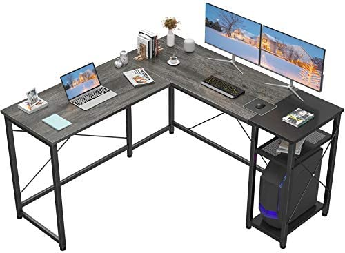 Homfio L Shaped Desk Computer Office Desk with Shelves Corner Computer Desk Large Gaming Table Industrial Simple Desk Workstation for Home Office Study Writing Table, Black Oak and Black
